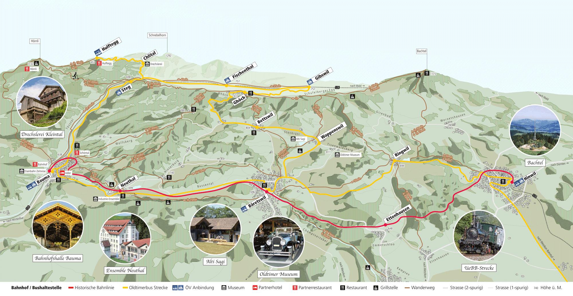 Streckenplan Erlebnis Zürcher Oberland